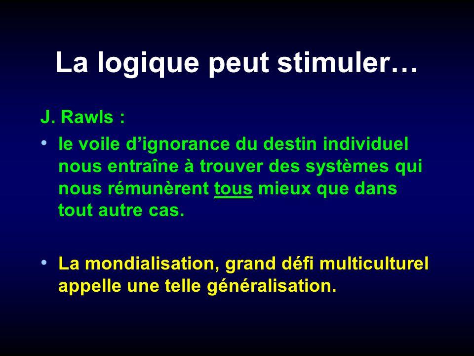 La logique peut stimuler… J. Rawls : le voile dignorance du destin individuel nous entraîne à trouver des systèmes qui nous rémunèrent tous mieux que