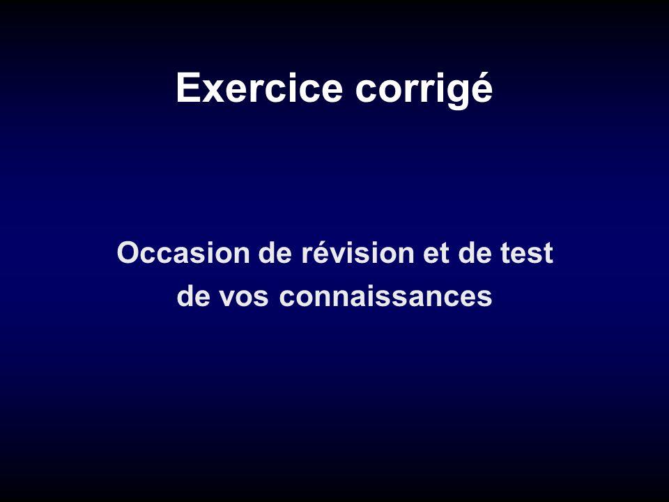 Exercice corrigé Occasion de révision et de test de vos connaissances