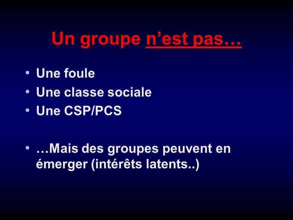 Deux critères définissent un groupe (Merton 1950) Interactions directes ou indirectes entre les membres, obéissant à des règles préétablies Conscience dune appartenance commune.