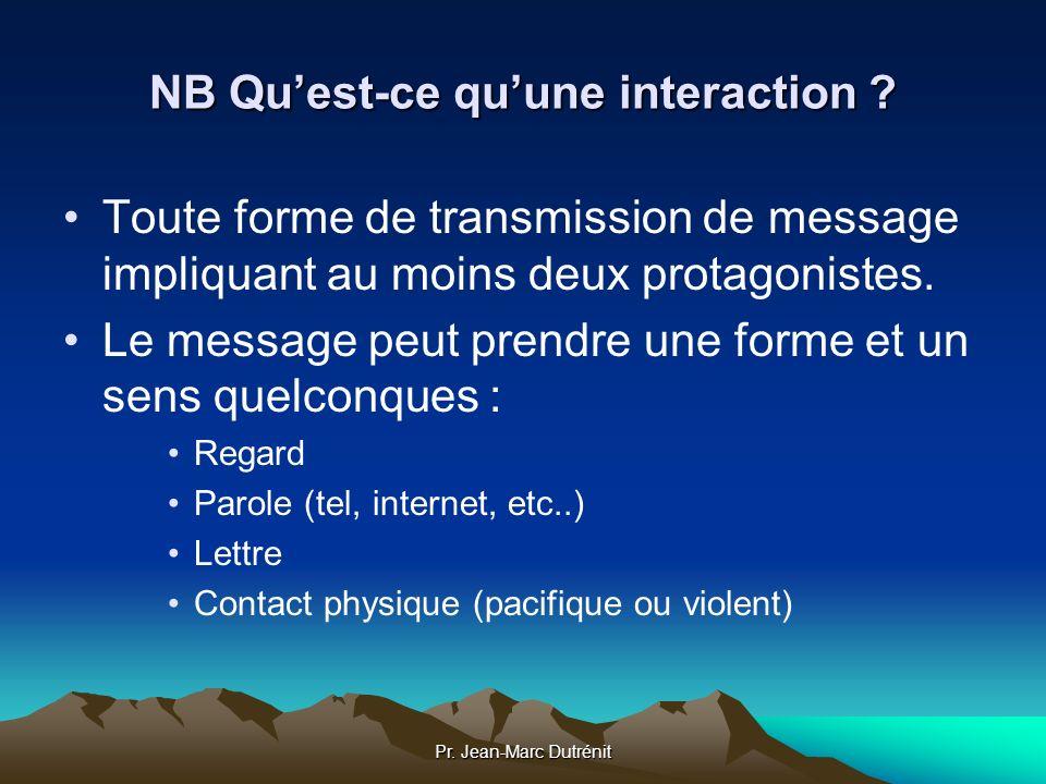 Pr. Jean-Marc Dutrénit NB Quest-ce quune interaction ? Toute forme de transmission de message impliquant au moins deux protagonistes. Le message peut