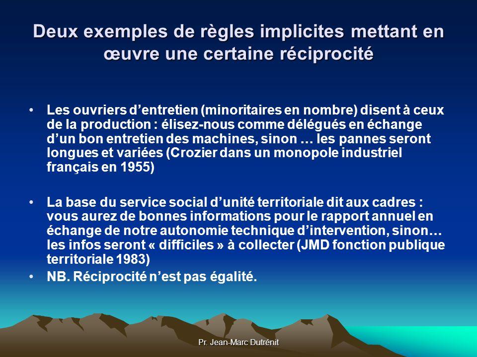 Pr. Jean-Marc Dutrénit Deux exemples de règles implicites mettant en œuvre une certaine réciprocité Les ouvriers dentretien (minoritaires en nombre) d