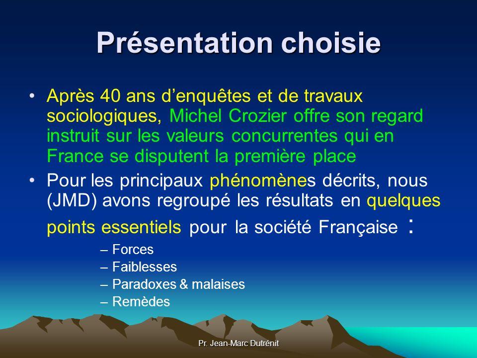 Pr. Jean-Marc Dutrénit Présentation choisie Après 40 ans denquêtes et de travaux sociologiques, Michel Crozier offre son regard instruit sur les valeu