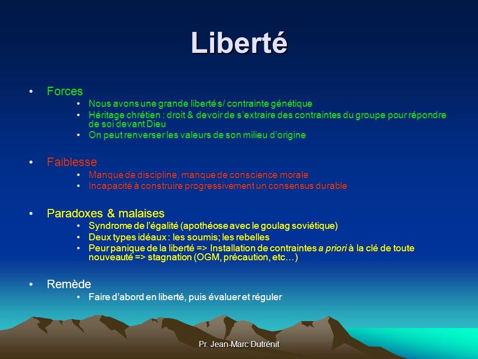 Pr. Jean-Marc Dutrénit Liberté Forces Nous avons une grande liberté s/ contrainte génétique Héritage chrétien : droit & devoir de sextraire des contra
