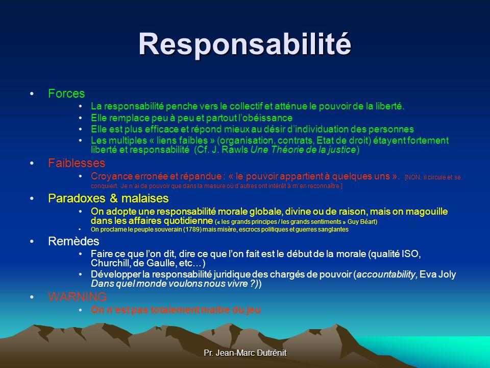 Pr. Jean-Marc Dutrénit Responsabilité Forces La responsabilité penche vers le collectif et atténue le pouvoir de la liberté. Elle remplace peu à peu e