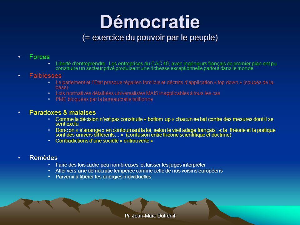Pr. Jean-Marc Dutrénit Démocratie (= exercice du pouvoir par le peuple) Forces Liberté dentreprendre. Les entreprises du CAC 40, avec ingénieurs franç