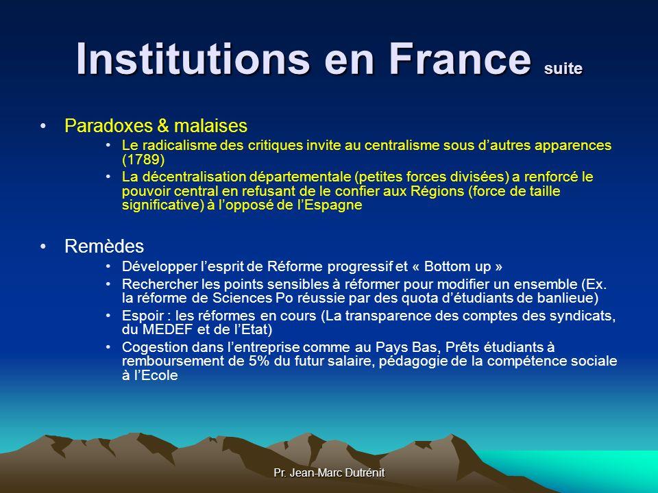 Pr. Jean-Marc Dutrénit Institutions en France suite Paradoxes & malaises Le radicalisme des critiques invite au centralisme sous dautres apparences (1