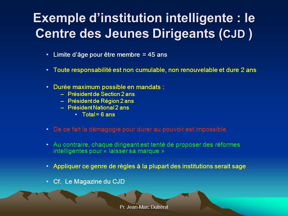 Pr. Jean-Marc Dutrénit Exemple dinstitution intelligente : le Centre des Jeunes Dirigeants ( CJD ) Limite dâge pour être membre = 45 ans Toute respons