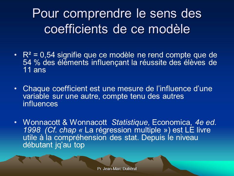 Pr. Jean-Marc Dutrénit Pour comprendre le sens des coefficients de ce modèle R² = 0,54 signifie que ce modèle ne rend compte que de 54 % des éléments
