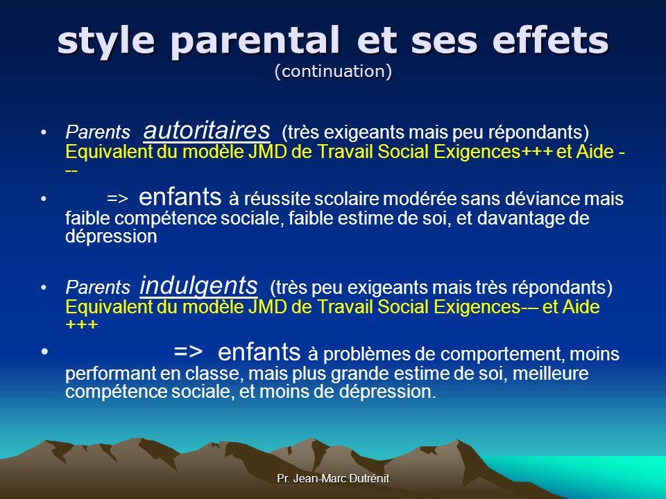 Pr. Jean-Marc Dutrénit style parental et ses effets (continuation) Parents autoritaires (très exigeants mais peu répondants) Equivalent du modèle JMD