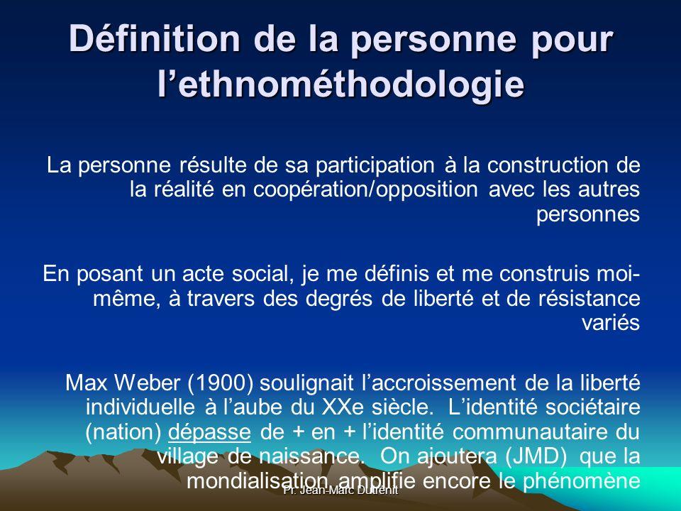 Pr. Jean-Marc Dutrénit Définition de la personne pour lethnométhodologie La personne résulte de sa participation à la construction de la réalité en co