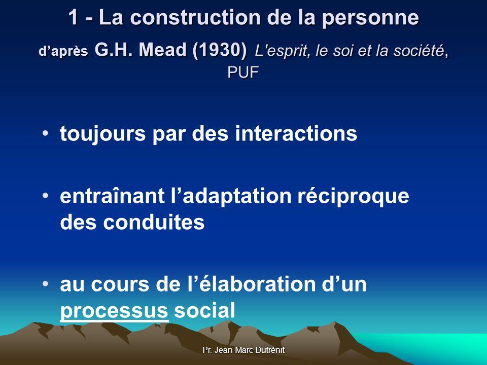 Pr. Jean-Marc Dutrénit 1 - La construction de la personne daprès G.H. Mead (1930) L'esprit, le soi et la société, PUF toujours par des interactions en
