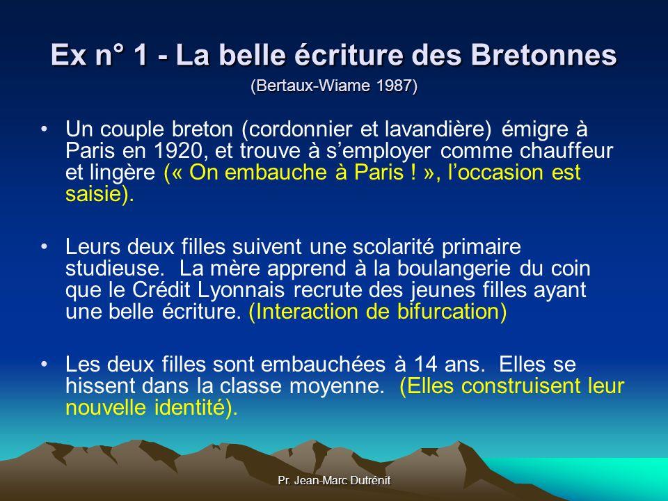 Pr. Jean-Marc Dutrénit Ex n° 1 - La belle écriture des Bretonnes (Bertaux-Wiame 1987) Un couple breton (cordonnier et lavandière) émigre à Paris en 19