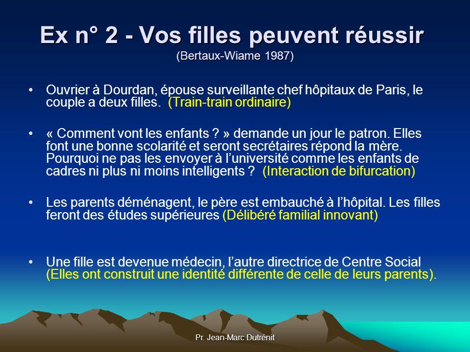 Pr. Jean-Marc Dutrénit Ex n° 2 - Vos filles peuvent réussir (Bertaux-Wiame 1987) Ouvrier à Dourdan, épouse surveillante chef hôpitaux de Paris, le cou