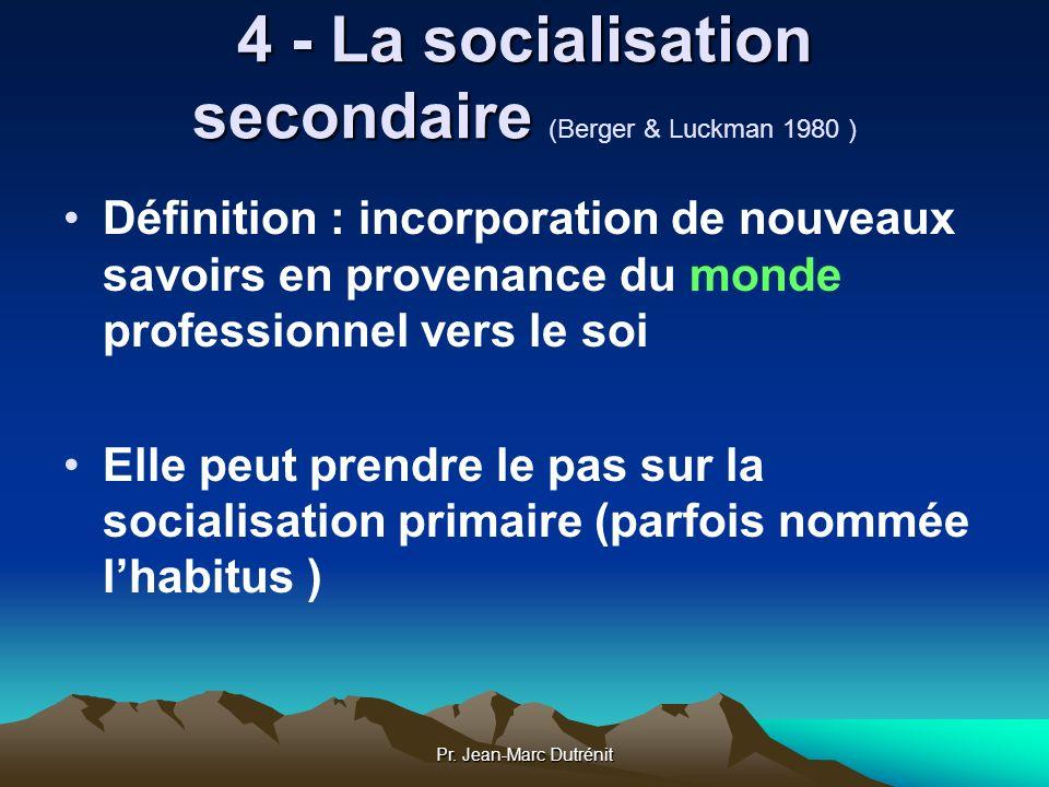 Pr. Jean-Marc Dutrénit 4 - La socialisation secondaire 4 - La socialisation secondaire (Berger & Luckman 1980 ) Définition : incorporation de nouveaux