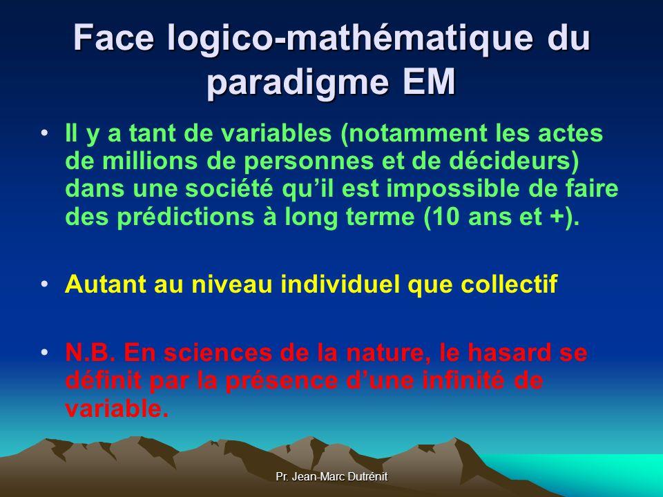 Pr. Jean-Marc Dutrénit Face logico-mathématique du paradigme EM Il y a tant de variables (notamment les actes de millions de personnes et de décideurs
