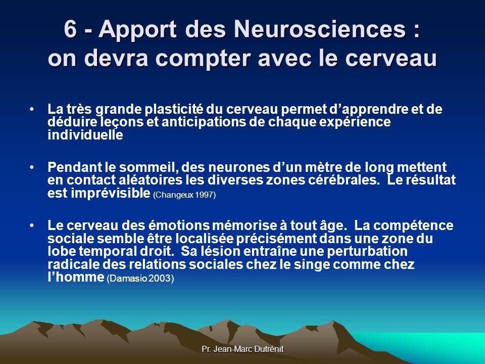 Pr. Jean-Marc Dutrénit 6 - Apport des Neurosciences : on devra compter avec le cerveau La très grande plasticité du cerveau permet dapprendre et de dé