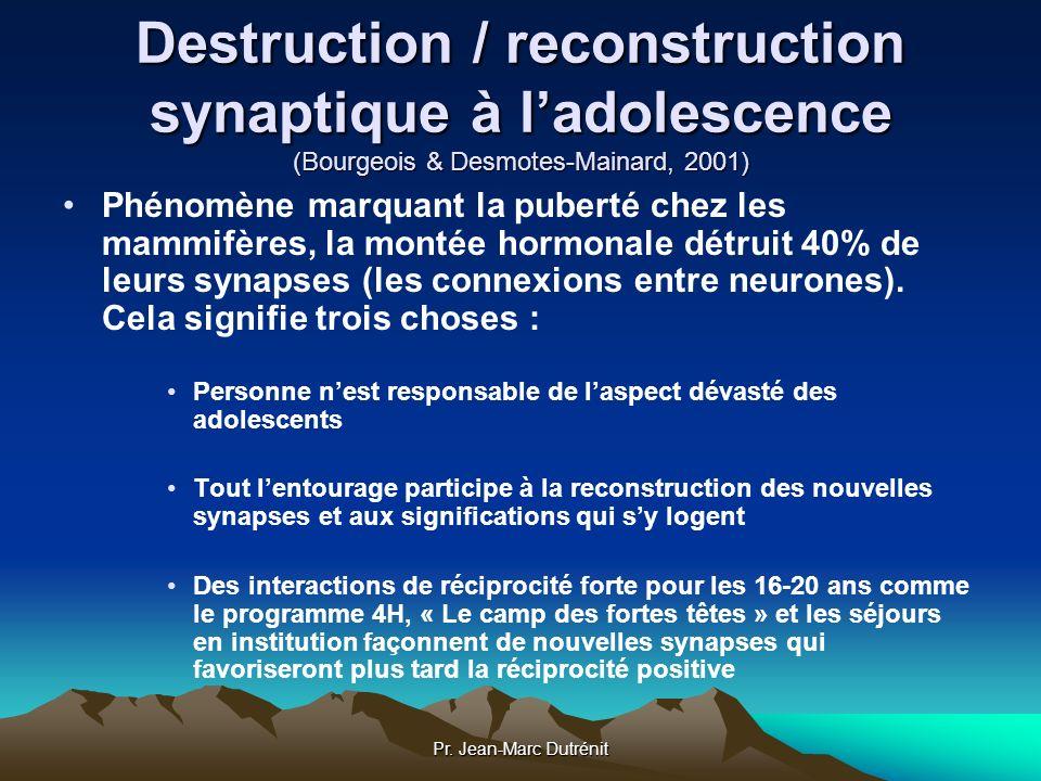 Pr. Jean-Marc Dutrénit Destruction / reconstruction synaptique à ladolescence (Bourgeois & Desmotes-Mainard, 2001) Phénomène marquant la puberté chez