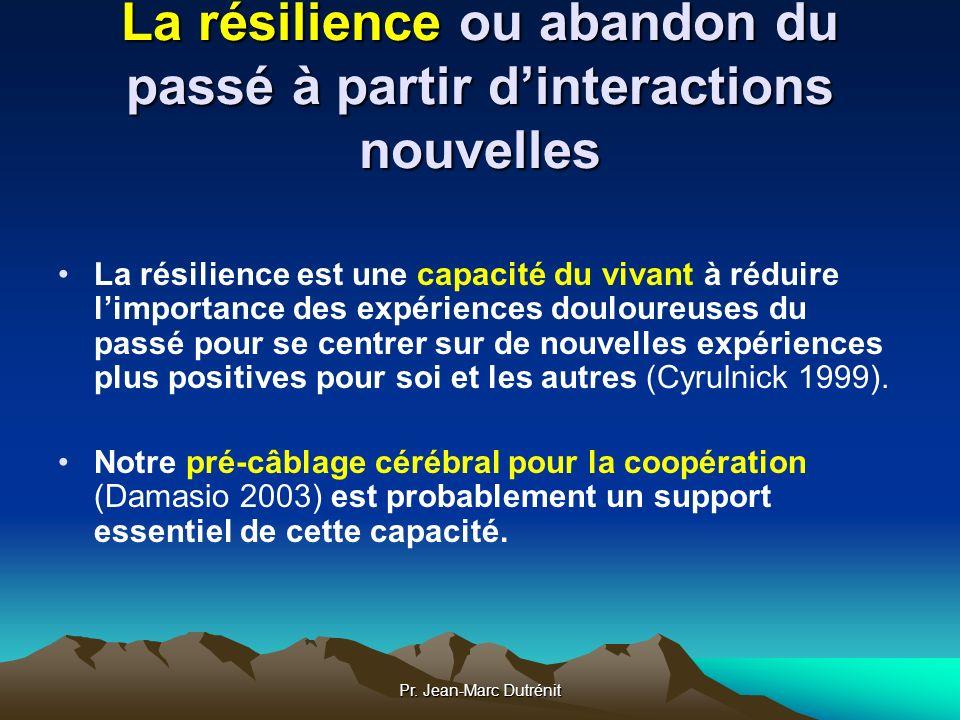 Pr. Jean-Marc Dutrénit La résilience ou abandon du passé à partir dinteractions nouvelles La résilience est une capacité du vivant à réduire limportan