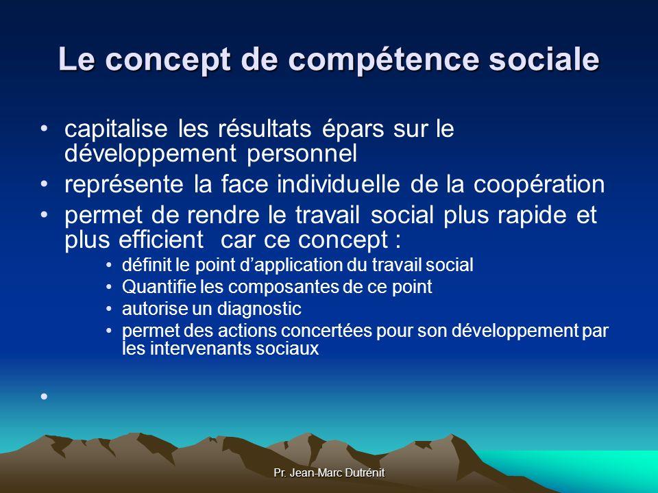 Pr. Jean-Marc Dutrénit Le concept de compétence sociale capitalise les résultats épars sur le développement personnel représente la face individuelle