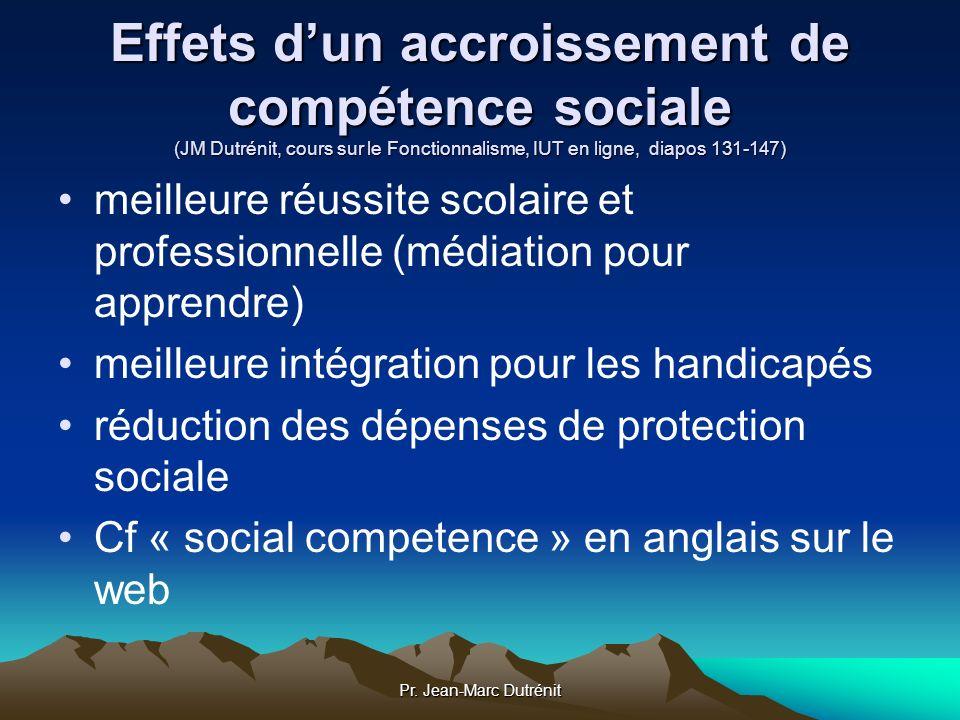 Pr. Jean-Marc Dutrénit Effets dun accroissement de compétence sociale (JM Dutrénit, cours sur le Fonctionnalisme, IUT en ligne, diapos 131-147) meille