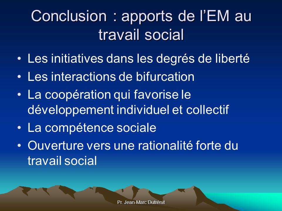 Pr. Jean-Marc Dutrénit Conclusion : apports de lEM au travail social Les initiatives dans les degrés de liberté Les interactions de bifurcation La coo