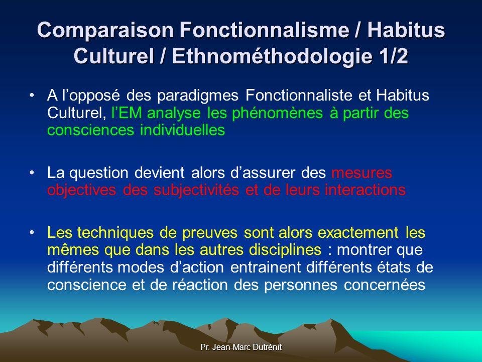 Pr. Jean-Marc Dutrénit Comparaison Fonctionnalisme / Habitus Culturel / Ethnométhodologie 1/2 A lopposé des paradigmes Fonctionnaliste et Habitus Cult