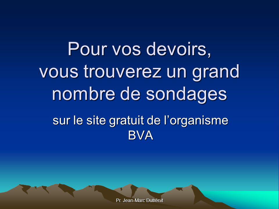 Pr. Jean-Marc Dutrénit Pour vos devoirs, vous trouverez un grand nombre de sondages sur le site gratuit de lorganisme BVA