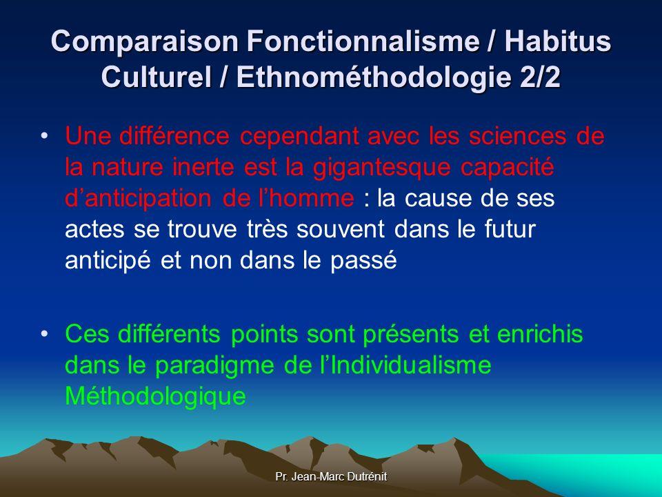 Pr. Jean-Marc Dutrénit Comparaison Fonctionnalisme / Habitus Culturel / Ethnométhodologie 2/2 Une différence cependant avec les sciences de la nature