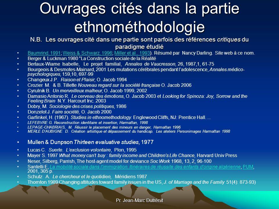 Pr. Jean-Marc Dutrénit Ouvrages cités dans la partie ethnométhodologie N.B. Les ouvrages cité dans une partie sont parfois des références critiques du
