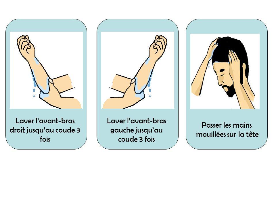 Laver lavant-bras droit jusquau coude 3 fois Laver lavant-bras gauche jusquau coude 3 fois Passer les mains mouillées sur la tête