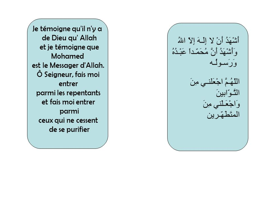 Je témoigne qu'il n'y a de Dieu qu' Allah et je témoigne que Mohamed est le Messager d'Allah. Ô Seigneur, fais moi entrer parmi les repentants et fais