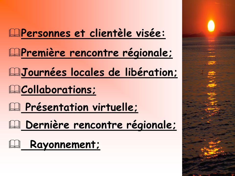 Première rencontre régionale; Journées locales de libération; Personnes et clientèle visée: Collaborations; Présentation virtuelle; Dernière rencontre régionale; Rayonnement;