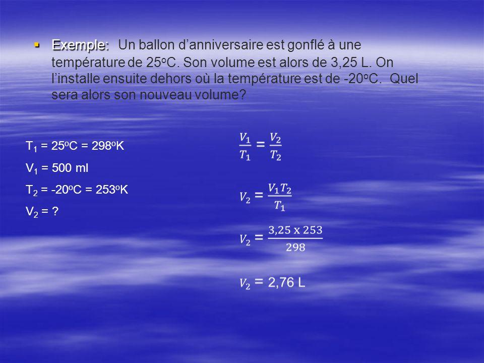 Exemple: Exemple: Un ballon danniversaire est gonflé à une température de 25 o C. Son volume est alors de 3,25 L. On linstalle ensuite dehors où la te