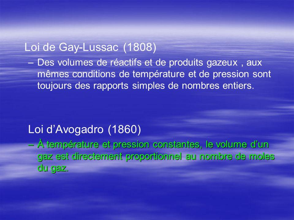 Loi de Gay-Lussac (1808) – –Des volumes de réactifs et de produits gazeux, aux mêmes conditions de température et de pression sont toujours des rappor