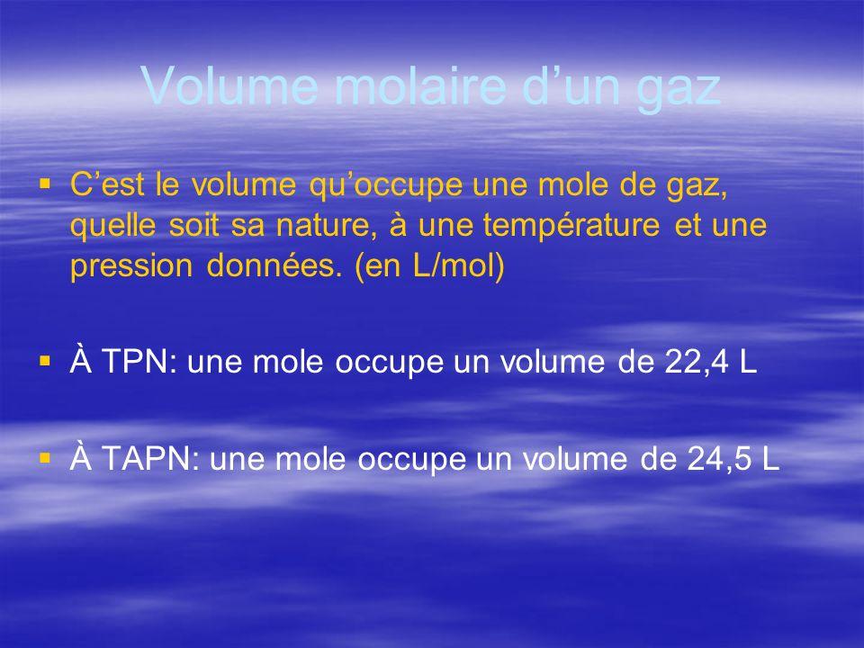 Volume molaire dun gaz Cest le volume quoccupe une mole de gaz, quelle soit sa nature, à une température et une pression données. (en L/mol) À TPN: un