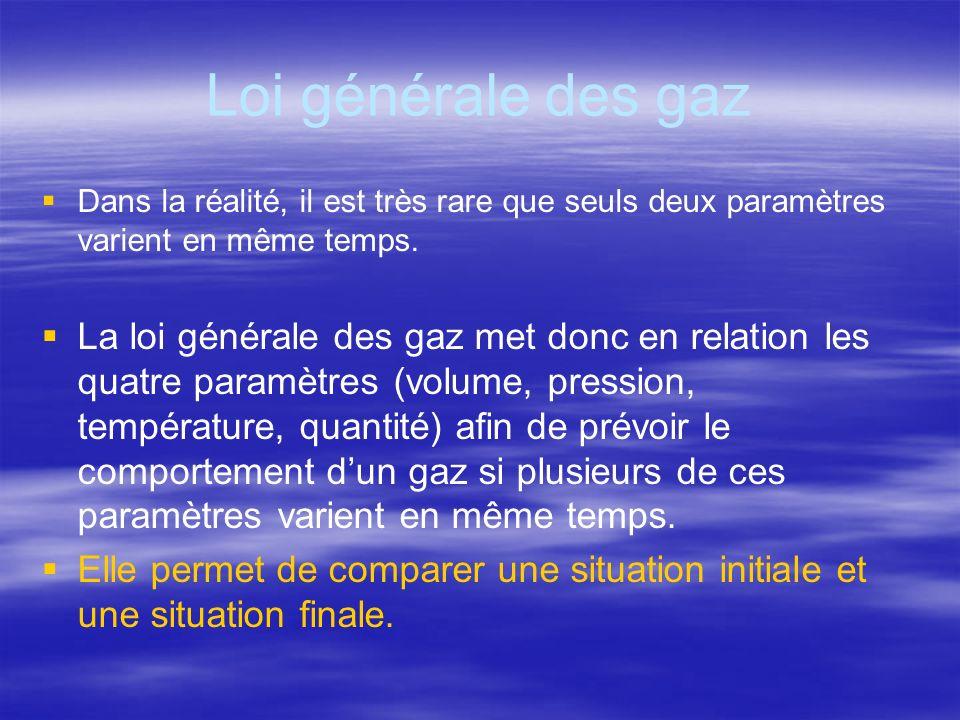 Loi générale des gaz Dans la réalité, il est très rare que seuls deux paramètres varient en même temps. La loi générale des gaz met donc en relation l