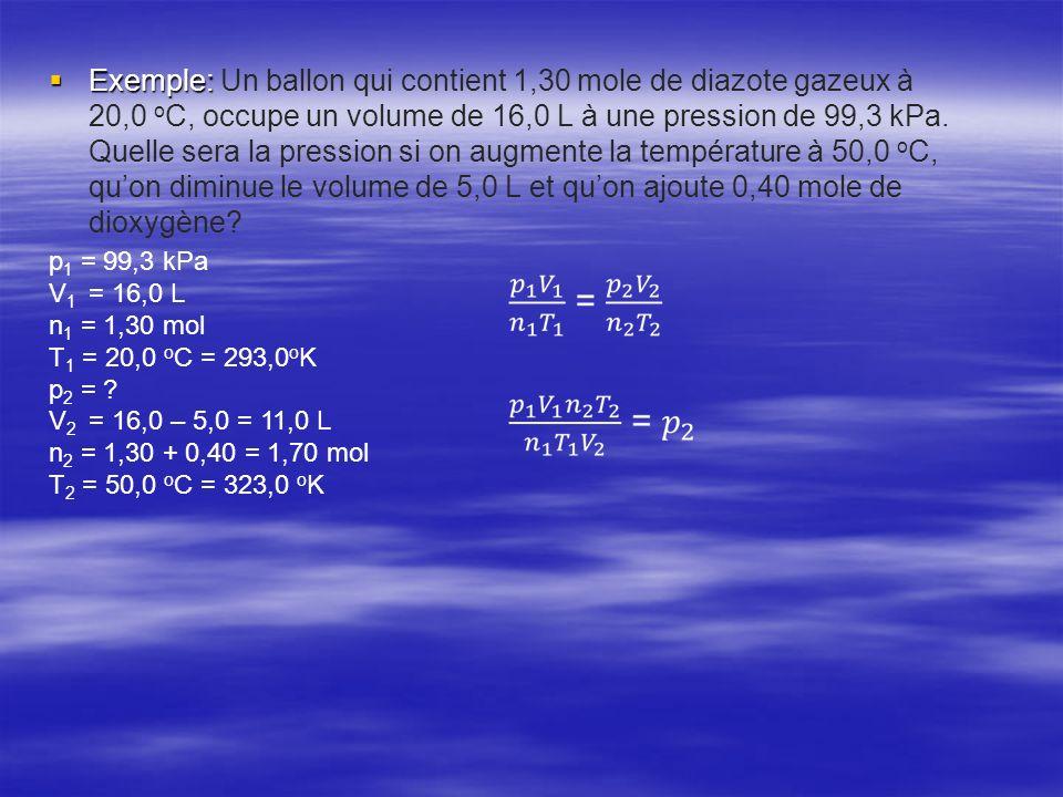 Exemple: Exemple: Un ballon qui contient 1,30 mole de diazote gazeux à 20,0 o C, occupe un volume de 16,0 L à une pression de 99,3 kPa. Quelle sera la