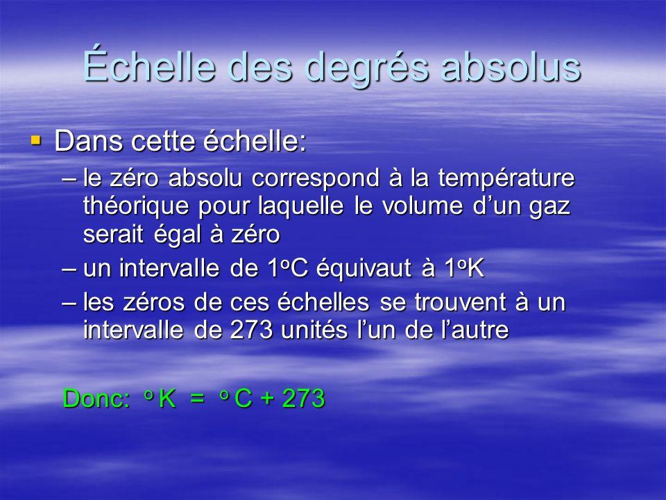 Échelle des degrés absolus Dans cette échelle: Dans cette échelle: –le zéro absolu correspond à la température théorique pour laquelle le volume dun g