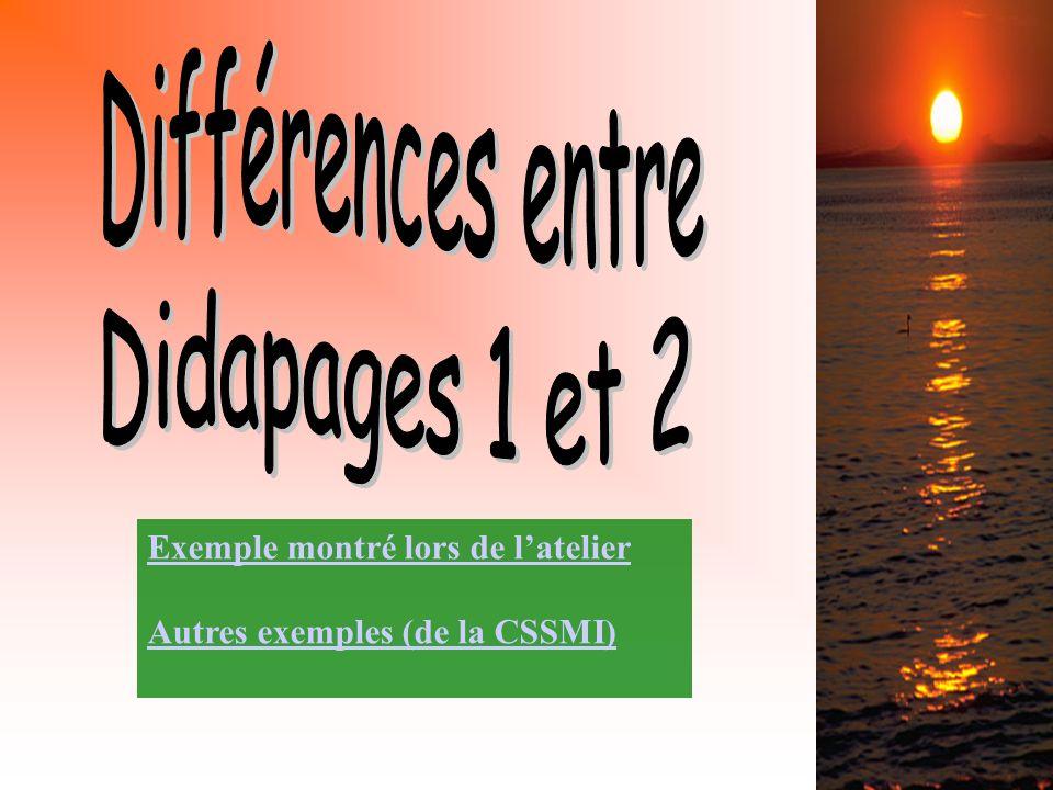 Exemple montré lors de latelier Autres exemples (de la CSSMI)