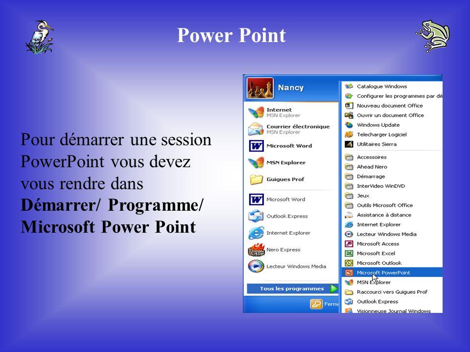 Procédure pour faire un PowerPoint Commission scolaire Lac Témicamingue 2005