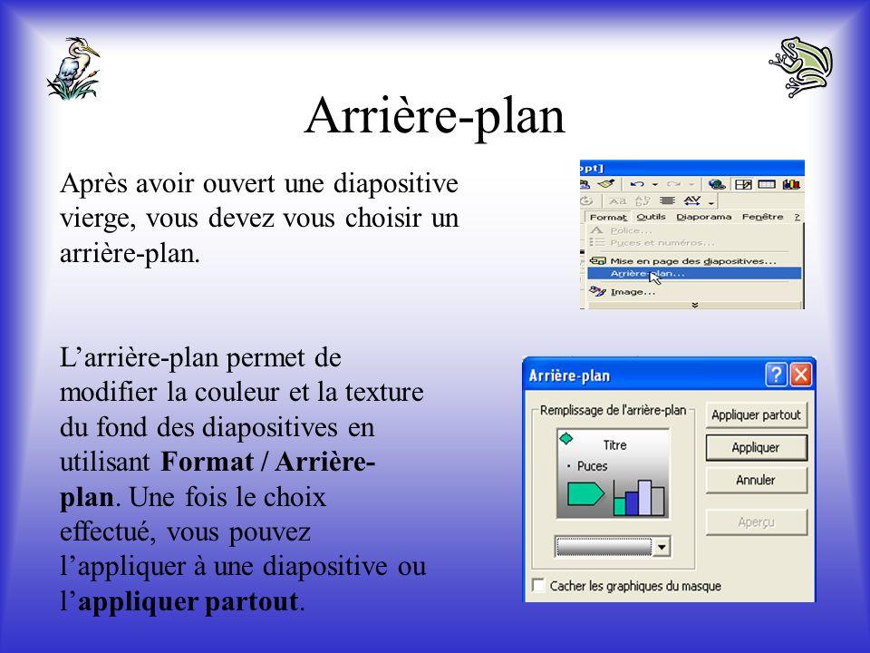 Si vous êtes déjà dans PowerPoint, ces choix se présentent sous forme donglets si vous faites Fichier / Nouveau. Nous commencerons notre présentation