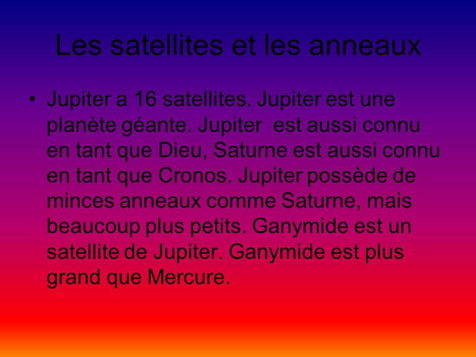 Les satellites et les anneaux Jupiter a 16 satellites. Jupiter est une planète géante. Jupiter est aussi connu en tant que Dieu, Saturne est aussi con