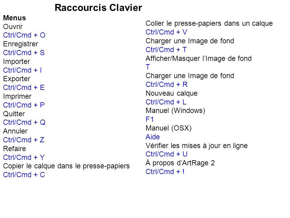 Raccourcis Clavier Menus Ouvrir Ctrl/Cmd + O Enregistrer Ctrl/Cmd + S Importer Ctrl/Cmd + I Exporter Ctrl/Cmd + E Imprimer Ctrl/Cmd + P Quitter Ctrl/C