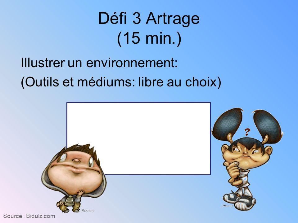 Défi 3 Artrage (15 min.) Illustrer un environnement: (Outils et médiums: libre au choix) Source : Bidulz.com