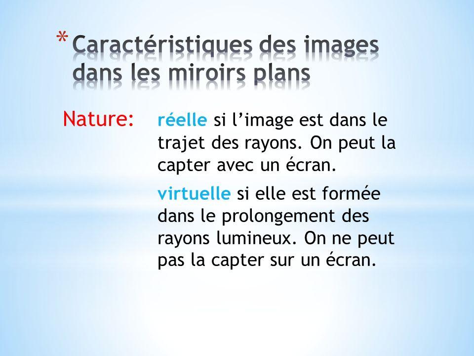 Nature: réelle si limage est dans le trajet des rayons. On peut la capter avec un écran. virtuelle si elle est formée dans le prolongement des rayons