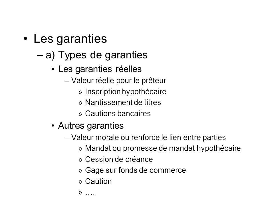 Les garanties –a) Types de garanties Portée des garanties –Crédit : montant du crédit et uniquement ce crédit –Ouverture de crédit : ligne –Toute somme due : passé et avenir –.
