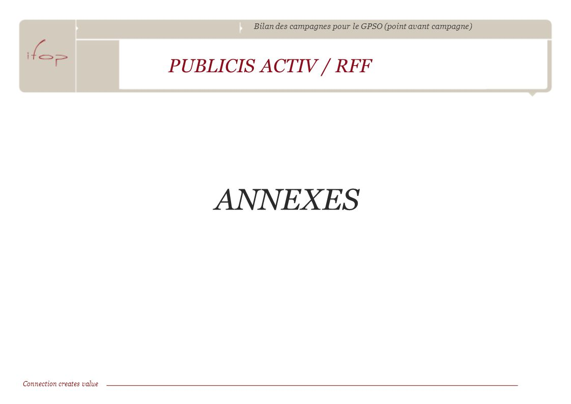Bilan des campagnes pour le GPSO (point avant campagne) ANNEXES PUBLICIS ACTIV / RFF Connection creates value