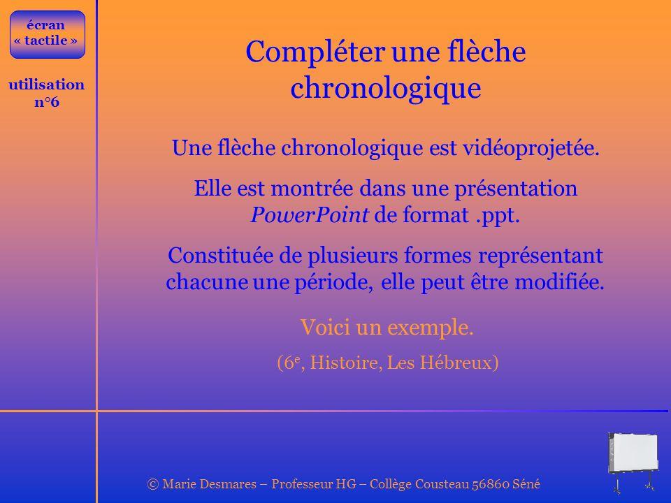 © Marie Desmares – Professeur HG – Collège Cousteau 56860 Séné utilisation n°6 Compléter une flèche chronologique Une flèche chronologique est vidéopr