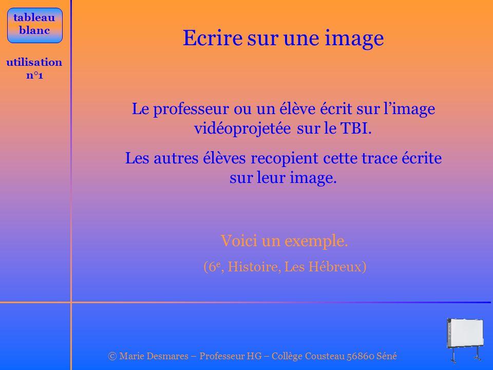 utilisation n°1 Ecrire sur une image tableau blanc Le professeur ou un élève écrit sur limage vidéoprojetée sur le TBI. Les autres élèves recopient ce