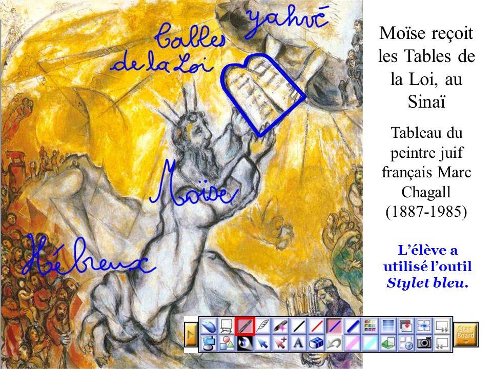 Moïse reçoit les Tables de la Loi, au Sinaï Tableau du peintre juif français Marc Chagall (1887-1985) Lélève a utilisé loutil Stylet bleu.